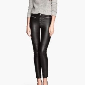 H&M divided black high waisted faux leather pants